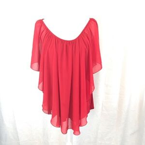 CHA CHA VENTE Red Sheer Flutter Top 2X